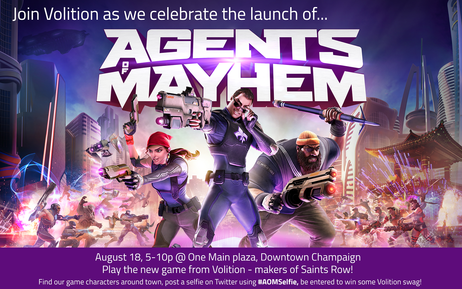 Celebrate the launch week of Agents of Mayhem Day in downtown Champaign!